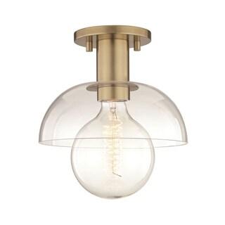 Mitzi by Hudson Valley Kyla 1-light Aged Brass Semi-Flush Mount, Clear Glass
