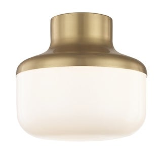 "Mitzi by Hudson Valley Livvy 1-light Aged Brass 9""W Flush Mount, Opal Glossy Glass"