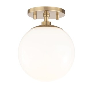 Mitzi by Hudson Valley Stella 1-light Aged Brass Semi-Flush Mount, Opal Glossy Glass