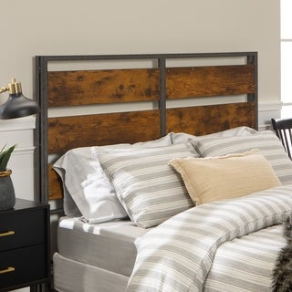 Metal and Wood Rustic Plank Queen Headboard