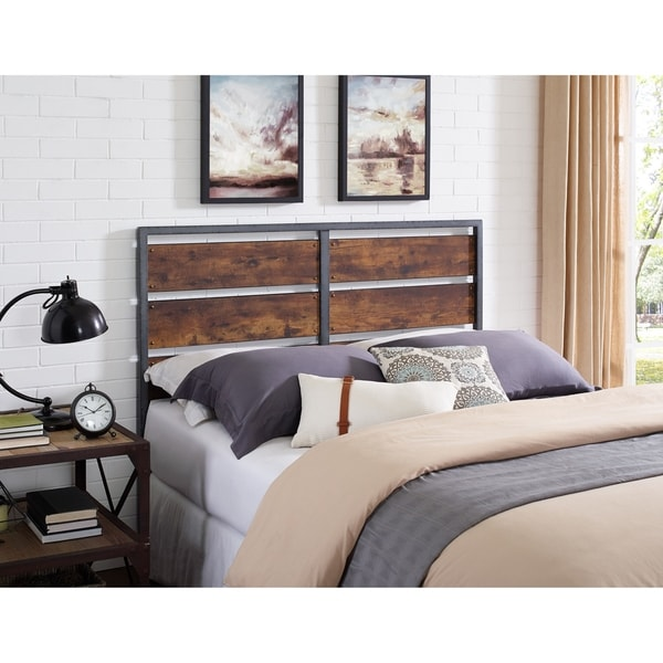 Rustic Metal And Wood Plank Queen Headboard