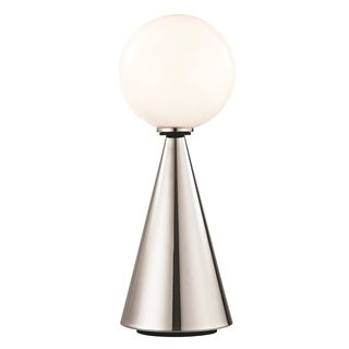 Mitzi by Hudson Valley Piper LED Polished Nickel 19.75-inch Table Lamp with Black Accents, Opal Glossy Glass