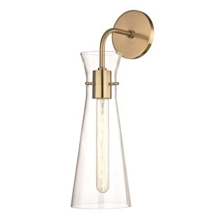 Mitzi by Hudson Valley Anya 1-light Aged Brass Wall Sconce, Clear Glass