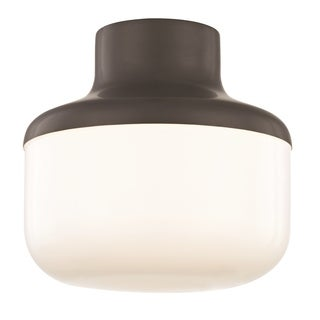 "Mitzi by Hudson Valley Livvy 1-light Old Bronze 9""W Flush Mount, Opal Glossy Glass"