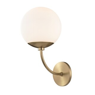 Mitzi by Hudson Valley Carrie 1-light Aged Brass Wall Sconce, Opal Etched Glass