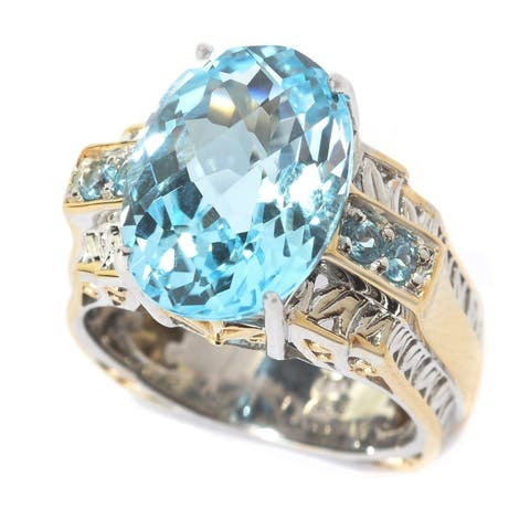Michael Valitutti Palladium Silver Faceted Swiss Blue Topaz Cocktail Ring