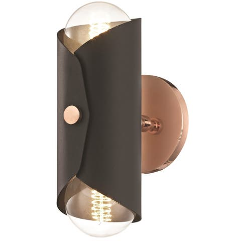 Mitzi by Hudson Valley Immo 2-light Polished Copper Wall Sconce with Black Shade
