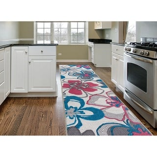 "Contemporary Large Flowers Non-Slip Gray Runner Rug (22"" X 84"") - 1'10 x 7'"