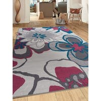 Contemporary Large Flowers Non-Slip Gray Area Rug (5' X 7') - 5' x 7'