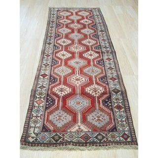 Hand-knotted Wool Rust Traditional Geometric Yalameh Rug (2' 7 x 8'11)