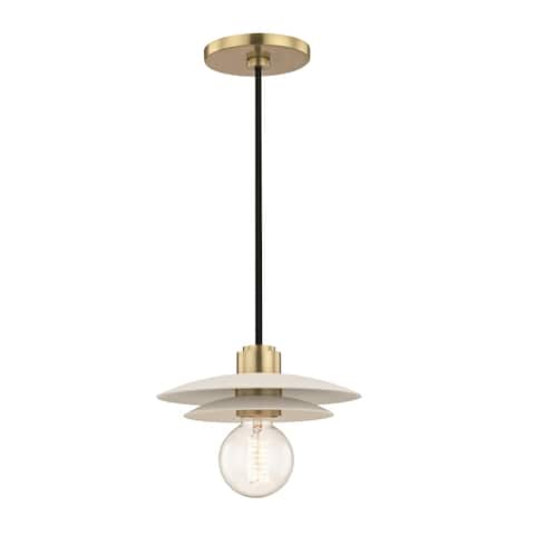 Mitzi by Hudson Valley Milla 1-light Aged Brass 8-inch Pendant with White Shade