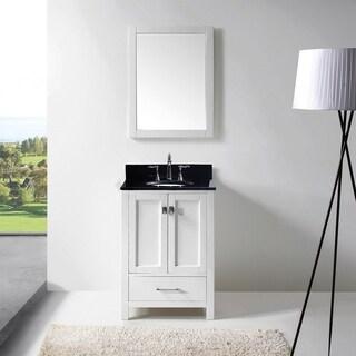 Caroline Avenue 24-inch Black Granite Single Bathroom Vanity Set (Oval - No Faucet/White Finish/w/ Framed Mirror)