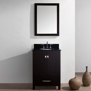 Virtu USA Caroline Avenue 24 Inch Black Granite Single Bathroom Vanity Set