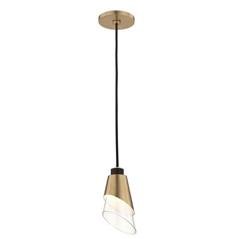 Mitzi by Hudson Valley Angie LED Aged Brass Pendant with Black Accents, Clear Glass
