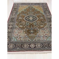 Hand-knotted Silk Gold Traditional Floral Qum Rug - 4' 6 x 7'