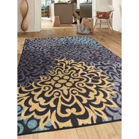 """Modern Transitional Floral Non-Slip Gray Area Rug - 7'10"""" x 10'"""