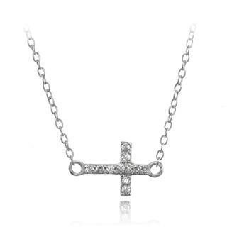 ICZ Stonez Sterling Silver CZ Sideways Cross Choker Necklace