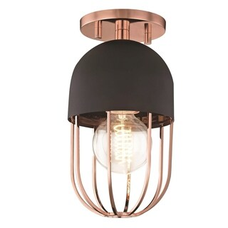 Mitzi by Hudson Valley Haley 1-light Polished Copper Flush Mount with Black Accents