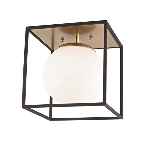 Mitzi by Hudson Valley Aira 1-light Aged Brass 14-inch Flush Mount with Black Accents, Opal Etched Glass
