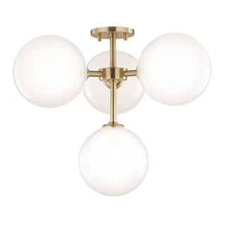 Mitzi by Hudson Valley Ashleigh LED Aged Brass Semi-Flush Mount, Clear Glass Outside Etched Glass Inside