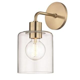 Mitzi by Hudson Valley Neko 1-light Aged Brass Wall Sconce, Clear Glass
