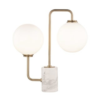 Mitzi by Hudson Valley Mia LED Aged Brass Table Lamp, Opal Etched Glass