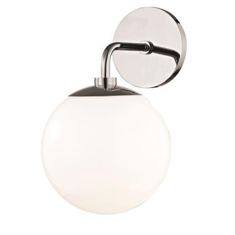Mitzi by Hudson Valley Stella 1-light Polished Nickel Wall Sconce, Opal Glossy Glass