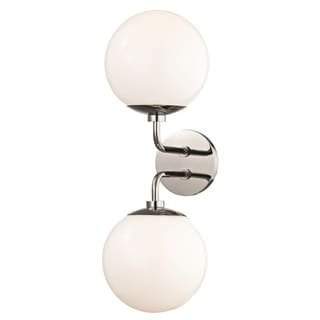 Mitzi by Hudson Valley Stella 2-light Polished Nickel Wall Sconce, Opal Glossy Glass