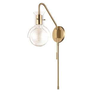 Mitzi by Hudson Valley Riley 1-light Aged Brass Wall Sconce, Clear Glass