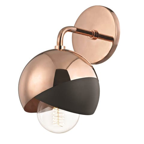 Mitzi by Hudson Valley Emma 1-light Polished Copper Wall Sconce with Black Accents