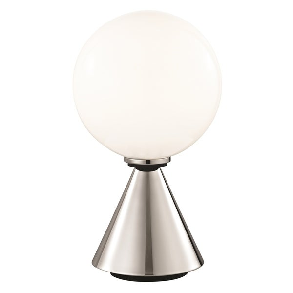 Mitzi by Hudson Valley Piper LED Polished Nickel 13.25-inch Table Lamp with Black Accents, Opal Glossy Glass