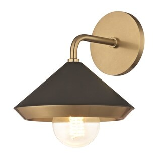 Mitzi by Hudson Valley Marnie 1-light Aged Brass Wall Sconce with Black Shade