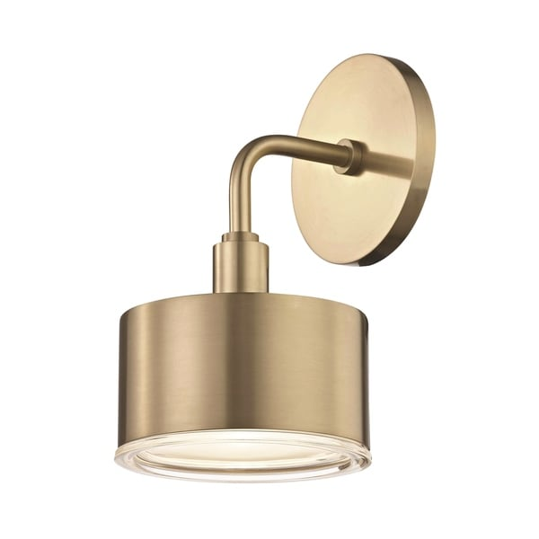 Mitzi By Hudson Valley Nora LED Aged Brass Wall Sconce, Clear Glass