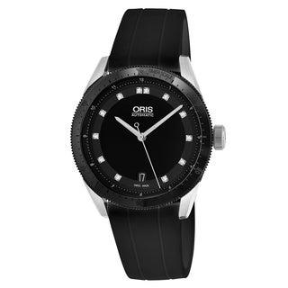 Oris Women's 733 7671 4494 RS 'Artix GT' Black Diamond Dial Black Rubber Strap Swiss Automatic Watch