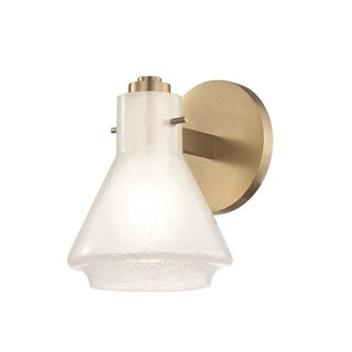Mitzi by Hudson Valley Rosie 1-light Aged Brass Bath Light, Clear Glass Outside Etched Glass Inside