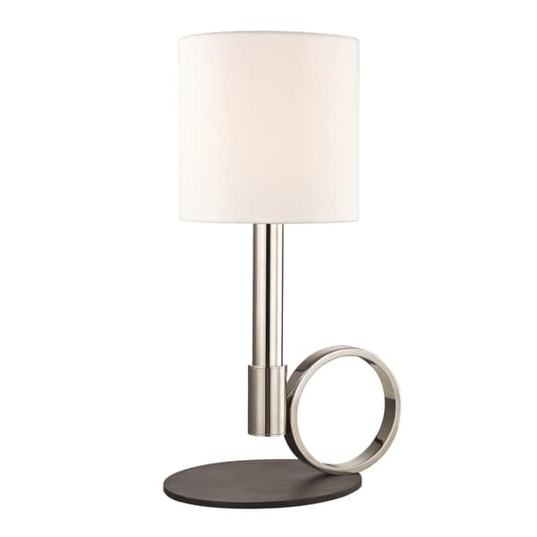Mitzi by Hudson Valley Tink 1-light Polished Nickel Table Lamp with Black Accents, Faux Silk Shade
