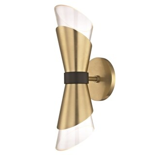 Mitzi by Hudson Valley Angie LED Aged Brass 15-inch Wall Sconce with Black Accents, Clear Glass