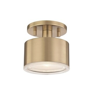 Mitzi by Hudson Valley Nora LED Aged Brass Flush Mount, Clear Glass