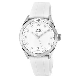 Oris Women's 733 7671 4191 RS 'Artix GT' White Diamond Dial White Rubber Strap Swiss Automatic Watch|https://ak1.ostkcdn.com/images/products/17119471/P23387684.jpg?impolicy=medium
