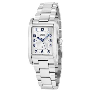 Oris Women's 561 7692 4031 MB 'Rectangular' Silver Dial Stainless Steel Swiss Automatic Watch|https://ak1.ostkcdn.com/images/products/17119476/P23387685.jpg?impolicy=medium
