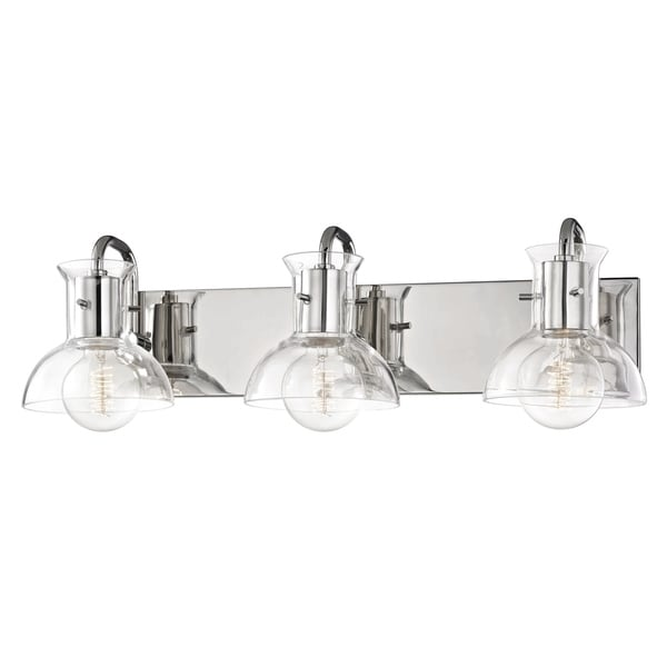 Shop mitzi by hudson valley riley 3 light polished nickel bath light mitzi by hudson valley riley 3 light polished nickel bath light clear glass aloadofball Images