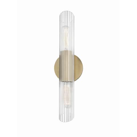 Cecily 2-light Aged Brass 17-inch ADA Wall Sconce, Clear Glass