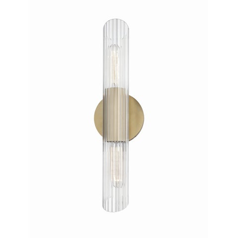 Mitzi by Hudson Valley Cecily 2-light Aged Brass 17-inch ADA Wall Sconce, Clear Glass - Gold