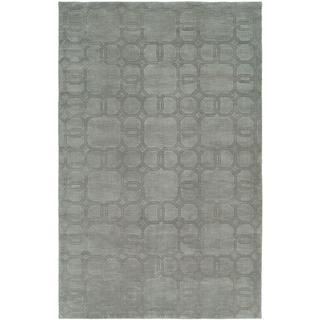 Echo Ice Grey Wool Handmade Area Rug (6' x 9') - 6' x 9'