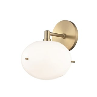 Mitzi by Hudson Valley Winnie LED Aged Brass Wall Sconce, Opal Glossy Glass
