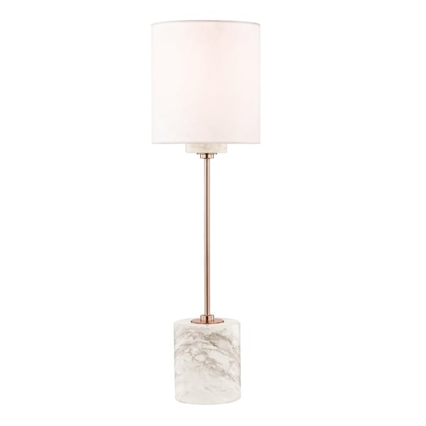 Mitzi by Hudson Valley Fiona 1-light Polished Copper Table Lamp, Faux Silk Shade