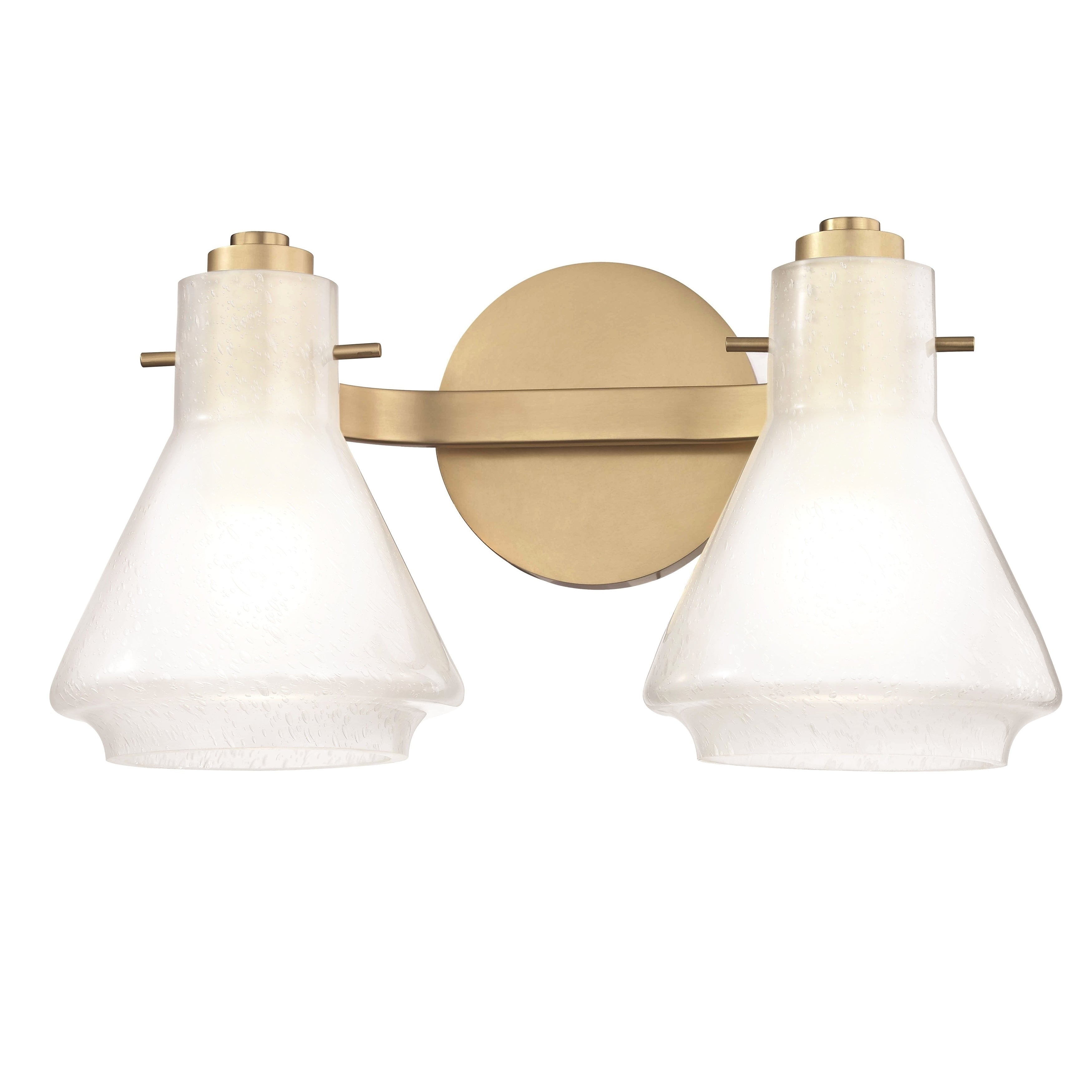 Shop Mitzi By Hudson Valley Rosie 2 Light Aged Brass Bath Light Clear Glass Outside Etched Glass Inside Overstock 17119648