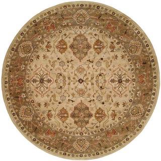 Empire Beige/Brown Hand-tufted Wool Area Rug (8' Round) - 8' Round
