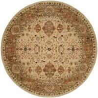 Empire Beige/Brown Hand-tufted Wool Area Rug (8' Round)