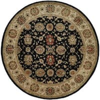 Empire Black/Ivory Hand-tufted Wool Area Rug (6' Round)